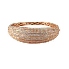 Rose Gold-Plated Sterling Silver White Pave CZ Layered Women 60mm Bangle
