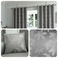 Curtina ROMOLO Silver Metallic Jacquard Curtains and Cushions