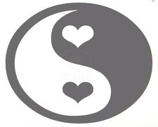 Ying And Yang Heart Love Peace Sticker Decal You Pick Color