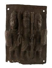 Bronze africain Benin -plaque de palais Bini Edo Nigeria-41x28cm-1205