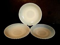 Macbeth Evans Petalware Monax White Saucers Depression Glass--Lot of 3!!