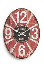 Horloge murale métal 30x22CM ovale Londres Angleterre 1879 Montre rouge antique