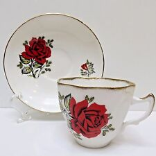 IMPERIAL Bone China Teacup & Saucer England Warranted 22kt Gold, Red Rose