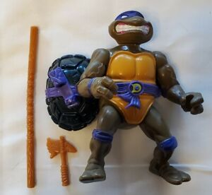 VINTAGE TMNT Storage shell Don weapon bow axe lot turtle 1990 almost complete