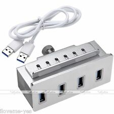 Clip-on 4-port USB 3.0 Aluminum Hub Clamp  Adapter for Pc Apple Imac Laptop New