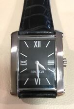 VINTAGE NAUTICA RECTANGLE WATCH ROMAN NUMERALS BLACK LEATHER BAND NWOT
