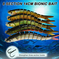 8 Segment Fishing Lures Hard Bait Minnow for Bass Trout Walleye