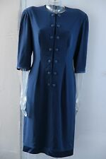 TOM BOWKER FOR COTERIE STUNNING MOTHER OF BRIDE WEDDING SATIN BLUE DRESS SIZE 14