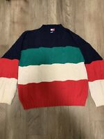 Mens Large Tommy Hilfiger Flag Logo Sweatshirt Navy Blue Red White Vintage