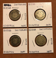 1850-BB SET OF 4 SWITZERLAND 20 RAPPEN BILLON COLLECTIBLE COINS KM#7
