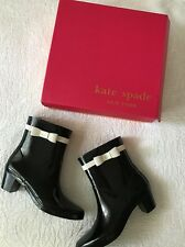 Kate Spade Paloma Black Rubber Rain Boots Cream Bow Heels Size 9 New In Box