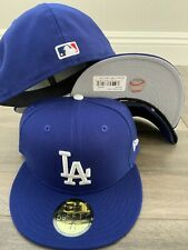 New Era Cap 59FIFTY Los Angeles Dodgers ROYAL BLUE GREY LA Hat Fitted 5950 WOOL