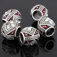 5Pcs Silver Red Enamel Crystal Big Hole European Charm Spacer Beads For Bracelet