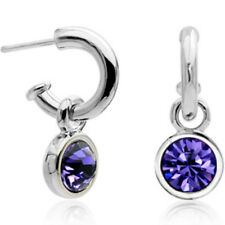 White Gold finish purple half hoop stud earrings quality jewellery UK seller