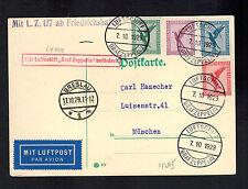 1929 Breslau Germany Graf Zeppelin Postcard Cover to Munich