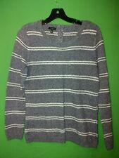 0114) TALBOTS medium petite navy blue stripe pullover sweater cotton back zip PM