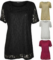 New Plus Size Womens Lace Floral Lined Ladies Short Sleeve T-Shirt Top 14-28