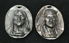 C M RUSSELL BRONZE MEDALLIONS OLD MAN & YOUNG MAN CHARLES MARION