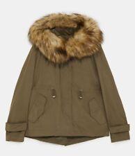 Zara Khaki Faux Fur Hooded Short Parka 5065/240