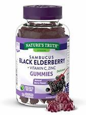 Black Elderberry Gummies, 50 Count, Vitamin C & Zinc,Natural Berry Flavor, Vegan