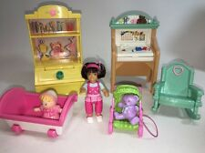 Fisher Price Loving Family Doll House GIRL'S BED ROOM Play Room Lot Desk Toybox+