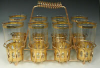 8 CULVER ANTIGUA Glasses + CADDY 1950s 12oz COLLINS HIGHBALL 22k Gold Signed FAB