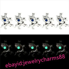 The Dark Green Beads Cage Locket G843 Bulk 10pcs! Silver Fly Horse Glow In