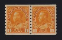 Canada Sc #126d (1923) 1c yellow Admiral Coil Pair Die I Mint VF NH