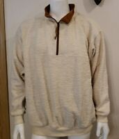 Vtg Sunrise Mens Sweater Sz 2XL 1/4 Zip Pullover Faux Suede Elbow Patch Ivory