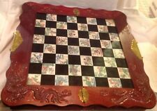 Chess Board , handcarved, With Soapstone Chess Pieces, 8 Fairies Chess & Board