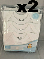 6pk Big Oshi Lap Shoulder Tees White Unisex, 3-6 Months, NIP Free Shipping