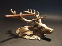 Antique Style Brass Elk Deer Stag Pen Inkwell Holder Desk Stand