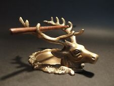 Antique Style Brass Elk Deer Stag Pen Inkwell Holder Desk Stand
