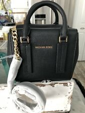 Michael Kors Alessa XS Pebbled Leather Satchel Messenger Bag Black $298