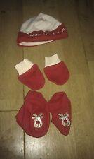Nuevo conjunto de Santa's Little Helper GORRO, PATUCOS Y ARAÑAZOS Guantes Para Bebé