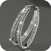 Charming Crystal 925 Silver Huggie Hoop Earrings Fashion Women Party Jewelry