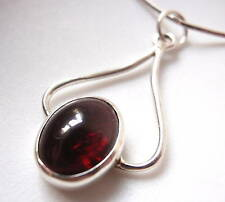 Garnet Curves 925 Sterling Silver Pendant Imported from India New