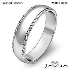 Men Wedding Band 14k Gold White Dome Milgrain Edge Solid Ring 5mm 5.7gm 12-12.75