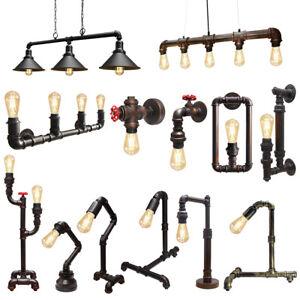 Vintage Industrial Rustic Steampunk Metal Waterpipe Ceiling Wall Table Lights BI
