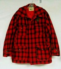 Vintage Woolrich Buffalo Plaid Coat Wool Hunting Coat Chin Strap Size Large