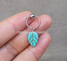 2ps Handmade Turquoise Leaf  Cartilage Hoop earrings Helix Cartilage earrings