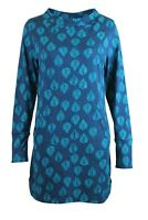 Womens Ladies Ex White Stuff 'Petal' Teal Blue Fern Leaf Print Jersey Tunic Top