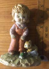 Vintage enesco girl with Cat figurine