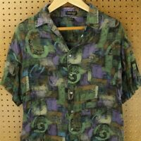 vtg 80s 90s STEFANO rayon shirt XL vaporwave abstract print aesthetic vacation