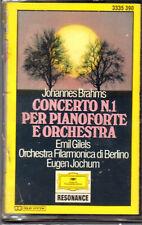 """BRAHMS """"CONCERTO N.1 PER PIANOFORTE """" MUSICASSETTA SIGILLATA DEUTSCHE GRAMMOPHON"""