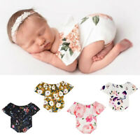 Newborn Infant Kid Baby Girl Off Shoulder Floral Romper Sunsuit Jumpsuit Clothes