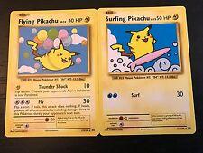 POKEMON: FLYING PIKACHU + SURFING PIKACHU - 2-CARD SET - EVOLUTIONS SECRET RARE