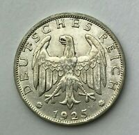 Dated : 1925 A - Silver Coin - Germany - 1 Mark - Weimar Republic Reichsmark