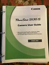 Canon PowerShot SX30 IS Instruction Manual: in Loose-leaf Binder