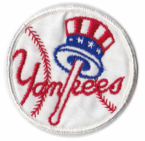 "1960'S/70'S ERA NEW YORK YANKEES MLB BASEBALL VINTAGE 2.75"" PATCH RED SCRIPT"